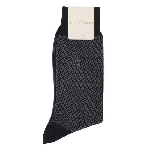 TRUSSARDI 棉質滿版鎖鍊織紋紳士襪-藍