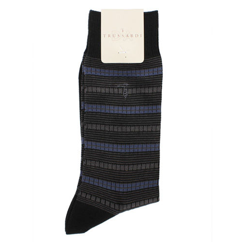 TRUSSARDI 休閒橫條繡紋棉襪-藍