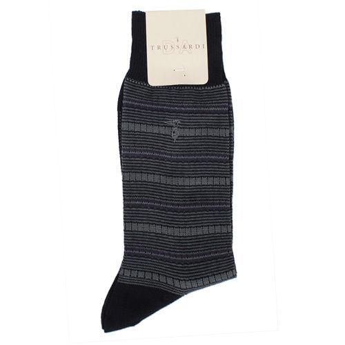 TRUSSARDI 休閒橫條繡紋棉襪-黑灰
