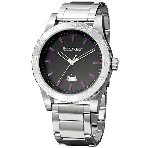 BAKLY 撼動系列軍武最前線日期腕錶 銀帶紫刻