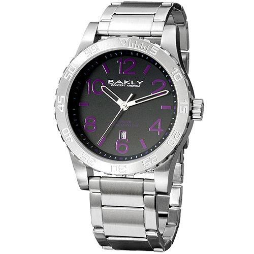 BAKLY 撼動系列德意防衛軍數字腕錶 紫