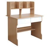 【乖乖牌】木紋色雙抽層架學生書桌