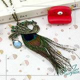 《伊飾童話》孔雀羽毛*古銅晶鑽長鍊