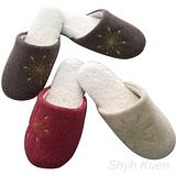 任選【MORINO】螞蟻絨綉花室內拖鞋