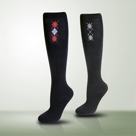 【LACOYA 】 竹炭小菱格中統襪(黑+深灰)*各2雙