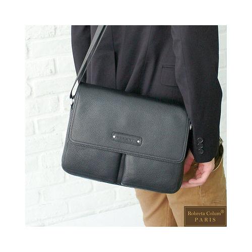 【Roberta Colum】時尚鉚釘軟牛皮多口袋功能側肩背包(小)