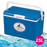【日本鹿牌 CAPTAIN STAG】日本製 保冷冰箱(附背帶) 25L 冰桶/藍 M-8177
