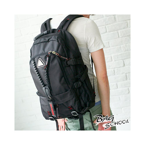 DF【Bag school 】街頭Y拉鏈潮流款大容量實用後背包(可裝筆電)