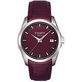 TISSOT T-Trend Couturier Lady 時尚簡約腕錶(T0352101637100)-酒紅