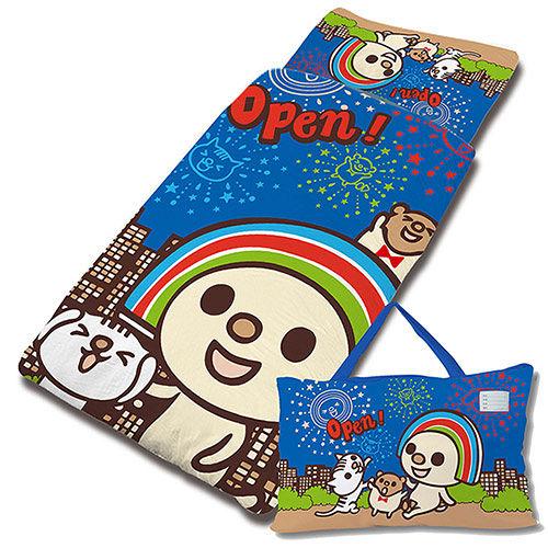 【享夢城堡】超纖單用4X5兒童睡袋-OPEN小將 煙火秀-藍