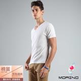 【MORINO摩力諾】時尚羅紋短袖V領衫-白色