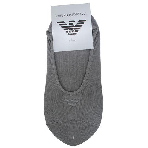 Emporio Armani 經典LOGO刺繡隱形短襪-灰