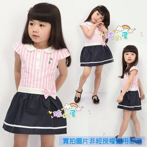 夏日《粉條紋小熊》甜美氣質小洋裝【現貨+預購】
