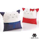 【M.B.H-甜蜜愛貓】麂皮拼布刺繡抱枕(2入)