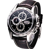 HAMILTON Lord Hamilton 機械計時腕錶-(H32816531)黑面咖啡皮