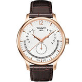 TISSOT Tradition 逆跳復刻經典腕錶(T0636373603700)-白/咖啡