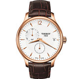 TISSOT Tradition GMT 二地時區經典腕錶(T0636393603700)-白/咖啡