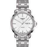 TISSOT Automatics III 時尚機械腕錶(T0654301103100)-白/銀/40mm