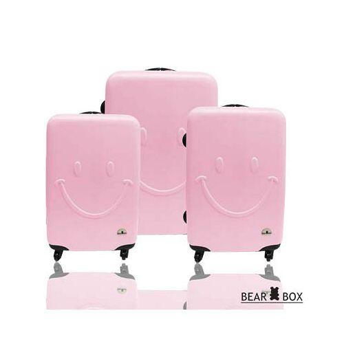 Bear Box 一見你就笑 ★ ABS霧面輕硬殼行李箱三件組-微笑粉