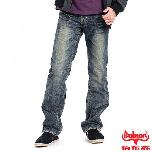 【BOBSON】男款刷白立體壓褶直筒褲(藍52)