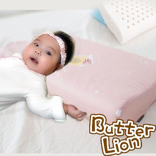 【奶油獅】馬來西亞天然乳膠嬰兒仰睡側睡專用工學枕(粉紅)