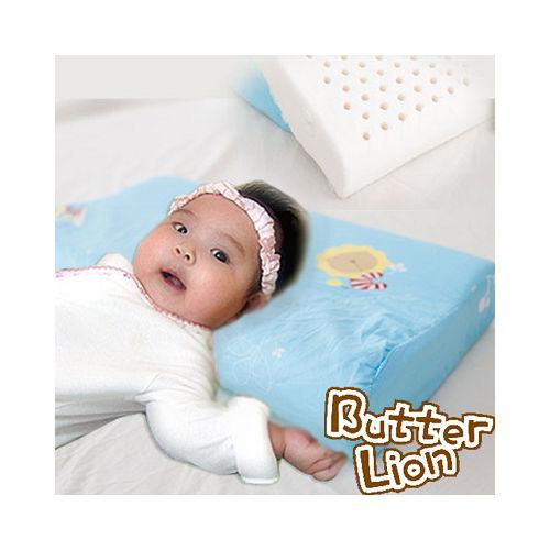 【奶油獅】馬來西亞天然乳膠嬰兒仰睡側睡專用工學枕(水藍)