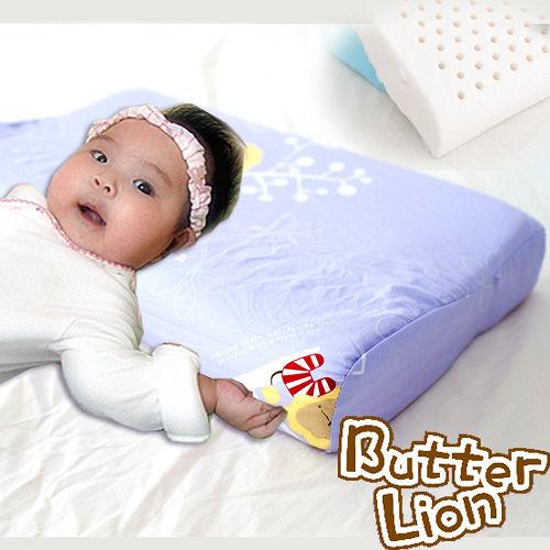 【奶油獅】馬來西亞天然乳膠嬰兒仰睡側睡專用工學枕(幻紫)