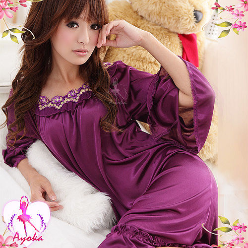 【Ayoka】歐式優雅!浪漫七分袖睡襯衣