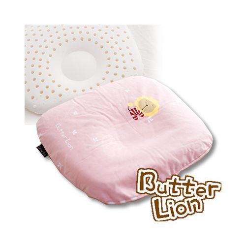 【奶油獅】馬來西亞天然乳膠新生嬰兒模塑造形圓枕(粉紅)