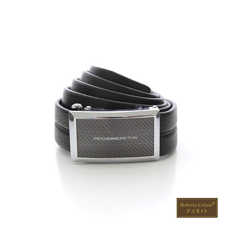 【Roberta Colum】 紳士-自動金屬滑扣黑牛皮皮帶