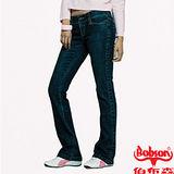 【BOBSON】女款釘裝飾扣伸縮小喇叭牛仔褲(2色)