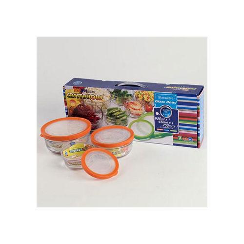 第 日式耐熱玻璃密封保鮮多用盒3件組 圓形