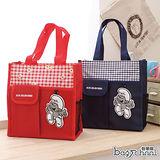 【Bag school】經典懷舊卡通 藍色小精靈 可側背手提袋(共2色)