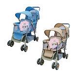 BabyBabe 雙人推車-(藍/卡其)