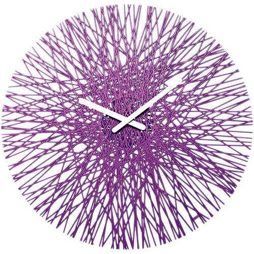 《KOZIOL》Silk網紋壁面時鐘(透紫)