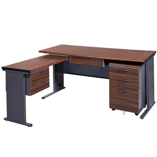 BTH胡桃木紋L型辦公桌櫃組252-2(100x150)