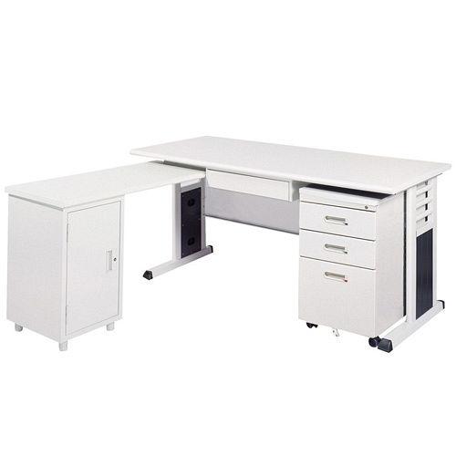 MSC淺灰色L型辦公桌櫃組255-4(100x150)