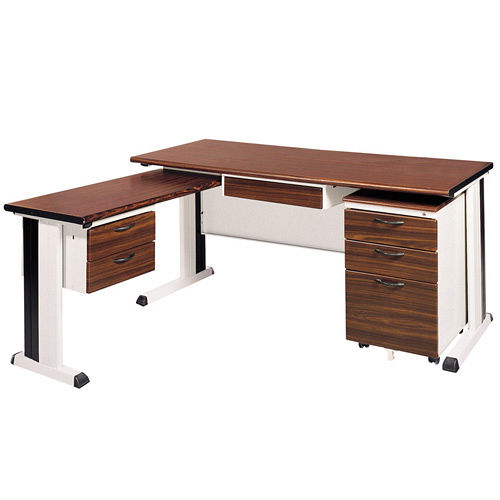 BKD胡桃木紋L型辦公桌櫃組(100x150)