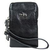 COACH 馬車荔枝紋皮革iPhone袋(黑)