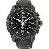 SEIKO Sportura 二地時區時尚計時運動錶(黑 /皮錶帶) 7T62-0LA0G