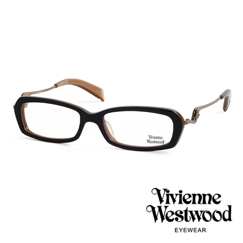 Vivienne Westwood 不規則音符鏡腳復古框光學眼鏡(古銅黑) VW201M01