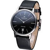 Hamilton Intra-Matic 優雅復刻機械腕錶(H38455731)黑面 皮