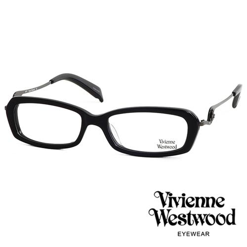 Vivienne Westwood 不規則音符鏡腳復古框光學眼鏡(黑) VW201M03