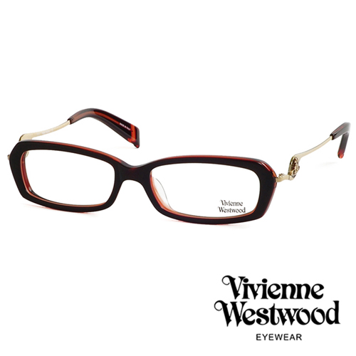 Vivienne Westwood 不規則音符鏡腳復古框光學眼鏡(橘紅) VW201M04