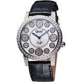 Ogival 愛其華 時來運轉珍珠貝晶鑽腕錶(3355DGS皮)-白貝/黑