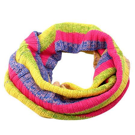 《Decoy》彩虹條紋多彩毛線圍脖套/暗黃