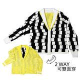 『摩達客』美國LA設計品牌【Suvnir】黑白格紋雙面針織衫外套