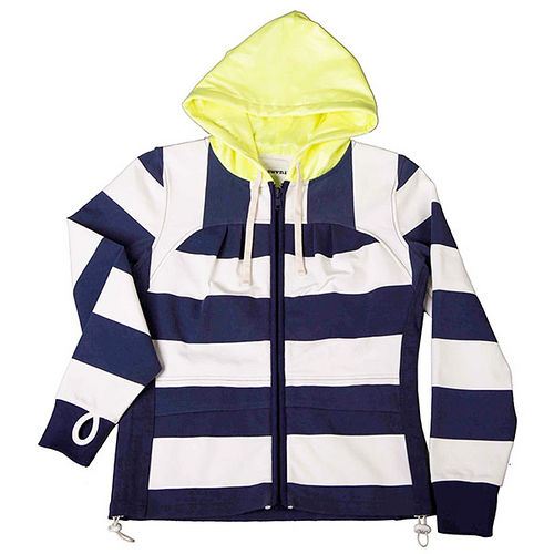 ~摩達客~美國LA 品牌~Suvnir~藍白橫紋女版連帽外套