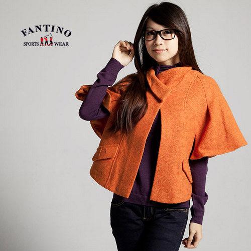 【FANTINO】時尚百搭女人必備,100%羊毛短版披風,需乾洗(橘色) 085503