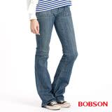 【BOBSON】女款貼口袋伸縮中喇叭牛仔褲(9020-77)